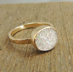 14k Gold White Druzy Quartz Ring Engagement by PointNoPointStudio