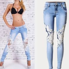 This jean with lace patchwork is the most popular style with young girls,lace and hollow design can show your sexy legs and you good figure can also be showed to others,get one you like. Material:Deni