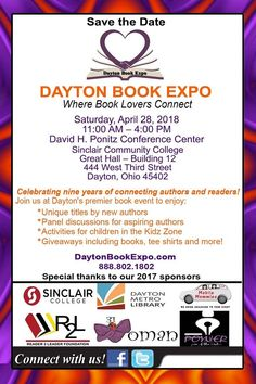 This Saturday! Join Holly Bargo and other authors for the 9th consecutive year Dayton BookExpo April 28, 2018 11:00 AM - Author Signings    Guest You'll enjoy:  *Unique titles by new authors  *Panel discussions for aspiring authors  *Activities for children in the Kidz Zone  *Giveaways including books, tee shirts and more!     11:00 AM – 4:00 PM  David H. Ponitz Conference Center  Sinclair Community College  Great Hall - Building 12  444 West Third Street  Dayton, Ohio 45402…