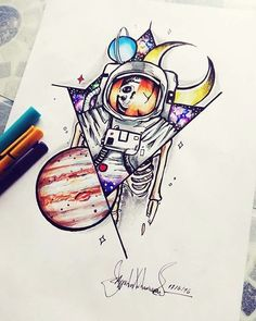 Dead astronaut in space neotraditional design by me  #space #astronaut #jupiter #neotraditional #tattoo #design