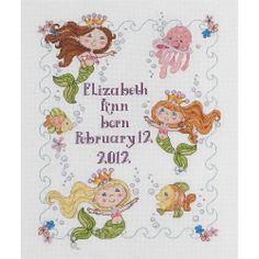 Bucilla - Mermaid Bay Baby Birth Record Counted Cross Stitch Kit # 45719