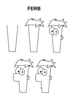 Ferb character step-by-step tutorial - Poke Ball - - . - Ferb character step-by-step tutorial – Poke Ball – – Easy Disney Drawings, Cute Easy Drawings, Beautiful Drawings, Simple Cartoon Drawings, Drawing Cartoons, Drawing Disney, Drawing Cartoon Characters, Disney Characters, Pencil Art Drawings