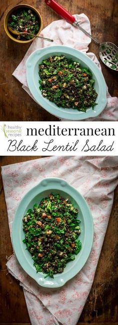 This Mediterranean Black Lentil Salad with cucumbers, spinach and feta is super easy to whip together. Vegetarian and Gluten-free.