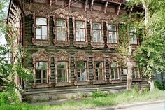Old wooden house in the center of Tomsk, Krasnarsky Krai, Russian Federation