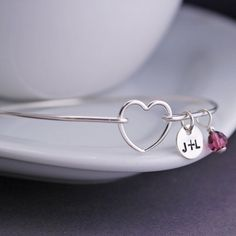 Heart Bracelet Personalized Heart Jewelry Valentine Gift by georgiedesigns