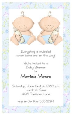 make your own twin baby shower invitations