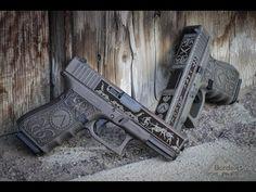 Floral Pattern Laser Engraved Custom Pistol Glock