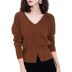 Womens Casual Knit Long Sleeve V Neck Solid Pullover Sweaters >>> Want additional info? Click on the image. (This is an affiliate link) #Sweaters