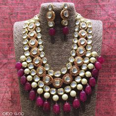 Kundan and beads necklace #IndianJewelry