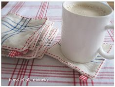 More Simple Handmade Gift Ideas....Fabric Coasters made from vintage flea market fabric!