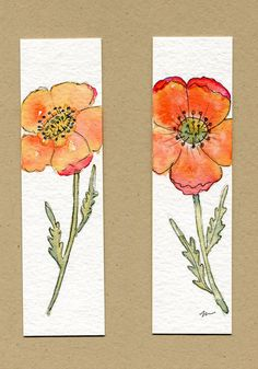 Watercolor and ink poppy bookmarks. Watercolor and ink poppy bookmarks. Watercolor Bookmarks, Watercolor Poppies, Watercolor Projects, Watercolor And Ink, Watercolour Painting, Painting & Drawing, Paint Cards, Book Markers, Art Lessons