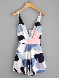 Shop Abstract Geo Print Plunging Zipper Back Cami Romper online. SheIn offers Abstract Geo Print Plunging Zipper Back Cami Romper & more to fit your fashionable needs. Teenage Outfits, Teen Fashion Outfits, Trendy Outfits, Girl Fashion, Cute Summer Outfits, Spring Outfits, Jugend Mode Outfits, Frack, Romper Dress