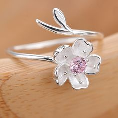 Cheap Creative Pink Crystal Frosted Cherry Vivid Flower Branch Open Ring For Big Sale! Morganite Engagement, Rose Gold Engagement Ring, Diamond Wedding Rings, Vintage Engagement Rings, Gold Diamond Earrings, Blue Sapphire Rings, Diamond Cluster Ring, Blue Topaz, Silver Earrings