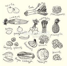 Vektorgrafik : Gesunde Speisen.  Skizze-Stil
