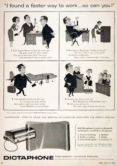 Classic Dictaphone ad -1955 Dictaphone www.dtpss.com