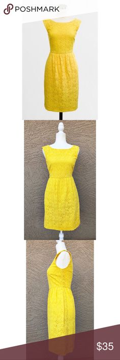 """J. CREW Cora Lace Shift Dress Sunny yellow lace classic shift dress in excellent condition. Pit to Pit: 16.5"""", Length: 35"""". Fully Lined, silk trimmed. ✨OFFERS WELCOME✨ J. Crew Dresses"""
