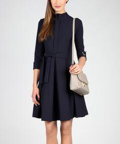 Look what I found on #zulily! Dark Blue Tie-Waist Pleated Dress #zulilyfinds