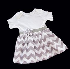 SEW A SKIRT ONTO A ONESIE!  BOUTIQUE Baby CHEVRON Onesie DRESS... in grey and white