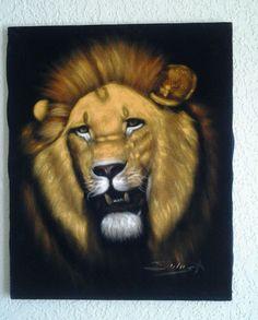 LION  IN CANVAS OIL PAINTING In Black Velvet 16x20  | Art, Direct from the Artist, Paintings | eBay!