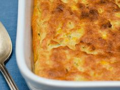 Baked Corn Pudding — Down-Home Comfort from Food Network Corn Recipes, Pudding Recipes, Other Recipes, Pudding Corn, Custard Pudding, Thanksgiving Recipes, Holiday Recipes, Dinner Recipes, Food Network Recipes