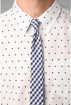 gingham necktie.