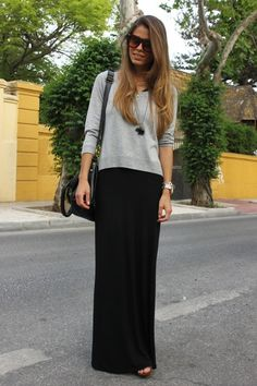 Black maxi dress, gray sweater