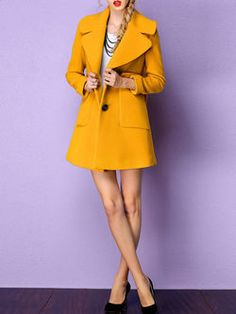 Buttoned Wool Blend Coat