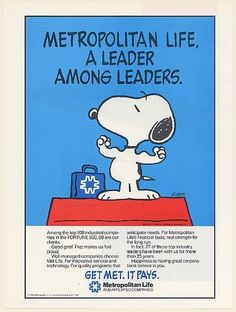 1986 Peanuts Snoopy Met Life Insurance A Leader Among Leaders Schulz Print Ad | eBay