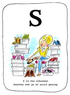 Alfabetkaart, S is van schoenen- Greetz