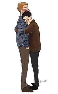 cas wearing dean's jacket and dean wearing cas' sweater, destiel