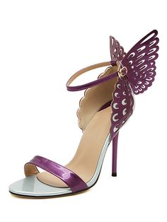 Purple 3D Butterfly Ankle Strap Heeled Sandals