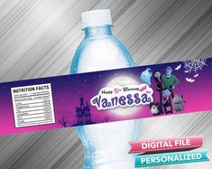 Vampirina Water Bottle Label - PrintDParty Selling Birthday Invitation and Printable Party Decoration Digital File. Printable Labels, Party Printables, Birthday Party Decorations Diy, Waterproof Labels, Water Bottle Labels, Printable Birthday Invitations, Special Birthday, Printed Materials, Sticker Paper