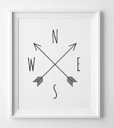 Printable art Compass cardinal directions par WallArtPrintables