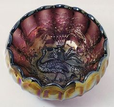 Millersburg Peacock & Urn rare carnival glass rose bowl whimsey.