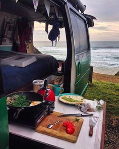 Perfect ocean views that you can see straight from the van! I want my DIY campervan kitchen to look like this. It's the best layout for a #vanlife adventure!