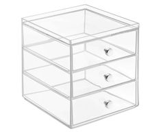 Storing your cosmetics and toiletries becomes a stylish affair when using the Luci Organizer from InterDesign. The see-through design allows you to find what you're looking for easily, while maintaining a zen-like level of organization. Makeup Storage Box, Vanity Organization, Storage Drawers, Storage Boxes, Cosmetic Organiser, Chrome Handles, Drawer Organisers, Neat And Tidy, Home Additions