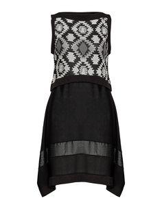 Mat Robe de matières et motifs mixtes en noir / blanc coton
