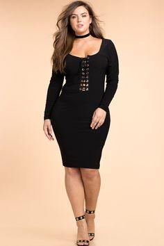 Women's Plus Size Bodycon Dresses | Plunge Lace Up Bodycon Dress | A'GACI