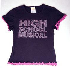 High School Musical LOGO Studded T-SHIRT Girl M 10 12 Disney HSM 2 Ribbed Cotton #Disney #Everyday