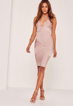 Missguided - Premium Lilac Bandage Harness Detail Midi Dress