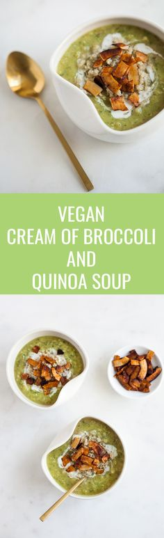 Fully loaded vegan cream of broccoli and quinoa soup -- so healthy and hearty! | The Full Helping