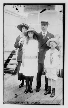 *CLARENCE H.MACKAY~ (c. 1910) w/his children Ellin (Mrs. Irving Berlin),Katherine+John W. Their mother,Katherine Duer Mackay was an intimate of Consuelo Vanderbilt+her mother Alva Belmont.The three of them would be among the most prominent members of society to actively support women's suffrage.
