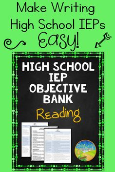 High School IEP Goal and Objective Bank for Reading. A tool for special education teachers to write IEPs that are aligned with common core standards. Special Education Organization, Teaching Special Education, Education Quotes For Teachers, Quotes For Students, Organization Ideas, Education College, Elementary Education, Classroom Organization, Organizing