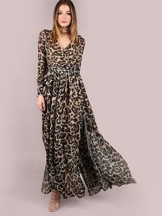 SheIn offers Leopard Print Wrap Chiffon Maxi Dress LEOPARD & more to fit your fashionable needs. Chiffon Dress Long, Maxi Dress With Sleeves, Slit Dress, Sleeve Dresses, Maxi Dresses, Party Dresses, Wrap Dress, Maxi Styles, Types Of Fashion Styles