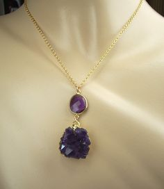 Amethyst Geode Druzy Necklace Amethyst Crystal Cluster Dangle Necklace 14kt Gold Filled Chain Purple Amethyst. $85.00, via Etsy.