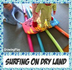 Surfing on dry land using pool noodles and a boogie board.