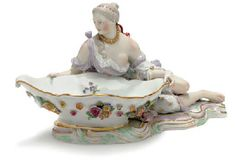 A MEISSEN FIGURAL SWEETMEAT DISH   LATE 19TH/20TH CENTURY, BLUE ...
