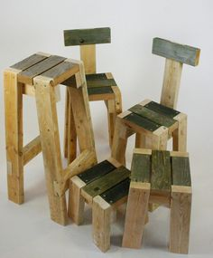 Recycled wood stools for DIY project!