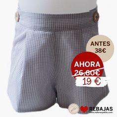 Pantalón corto con cintura regulable, en vichy gris al 50% en www.nollorespatito.com