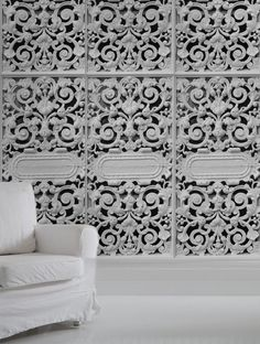 white cast iron lace wallpaper.